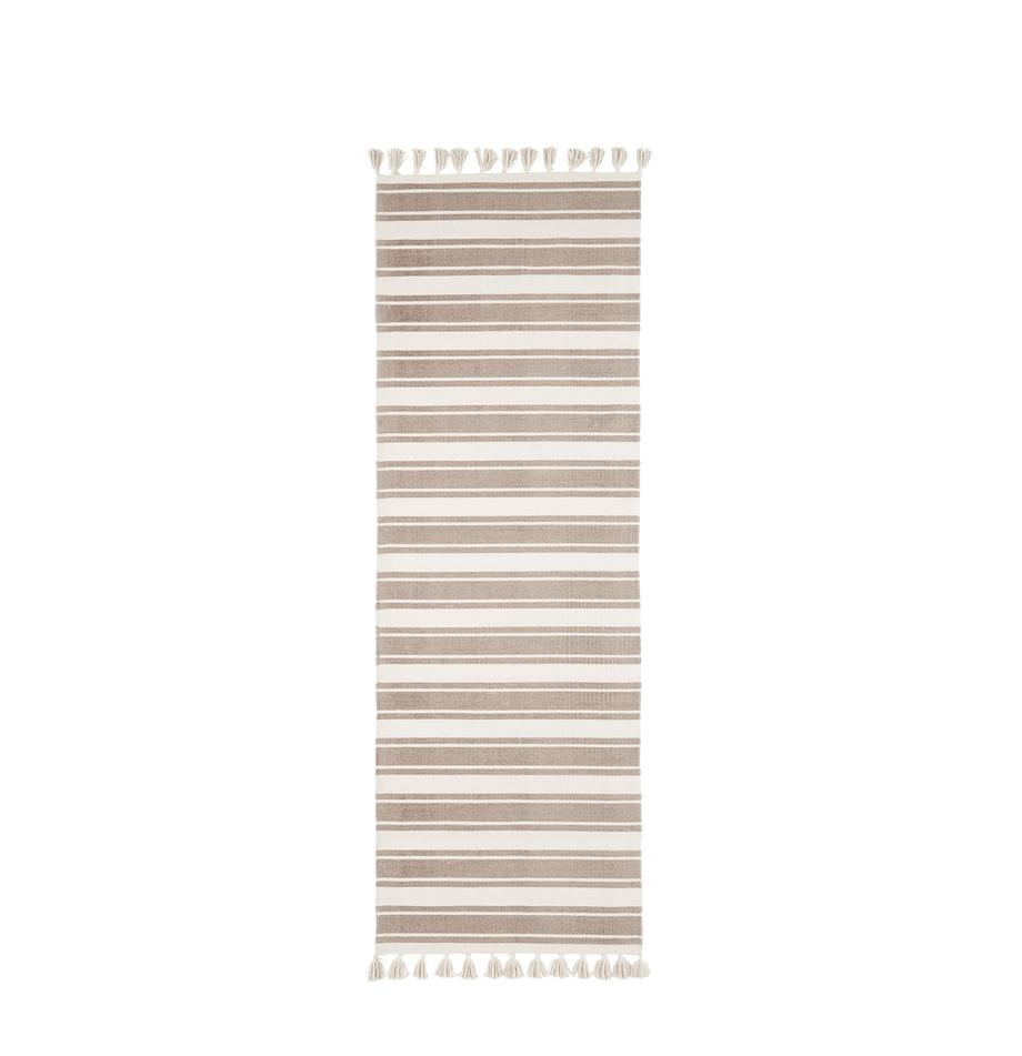 Pasatoia in cotone tessuta a mano con nappe Vigga, Taupe, beige, Larg. 80 x Lung. 250 cm