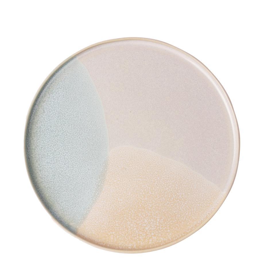 Handgemaakte ontbijtborden Gallery, 2 stuks, Keramiek, Mintgroen, beige, Ø 19 cm