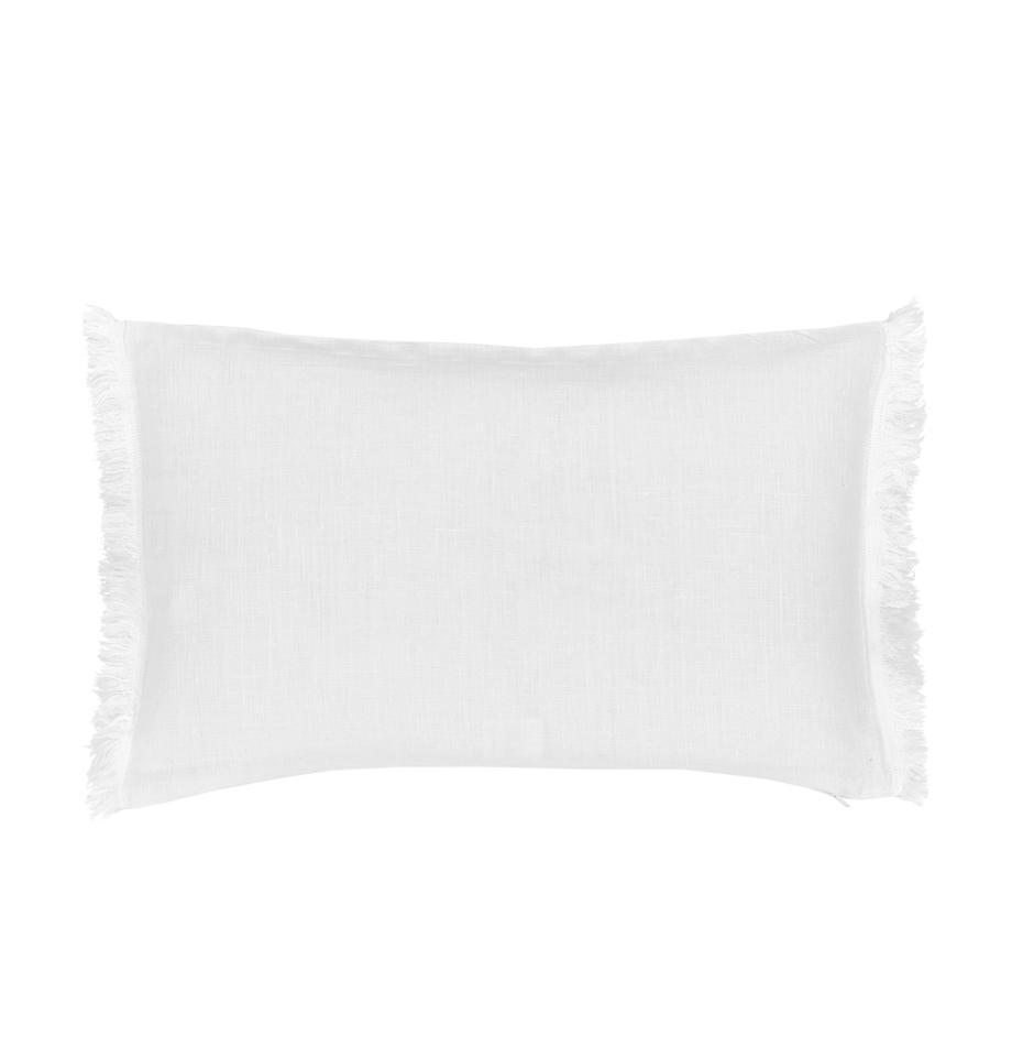 Funda de cojín de lino con flecos Luana, 100%lino, Blanco crema, An 30 x L 50 cm