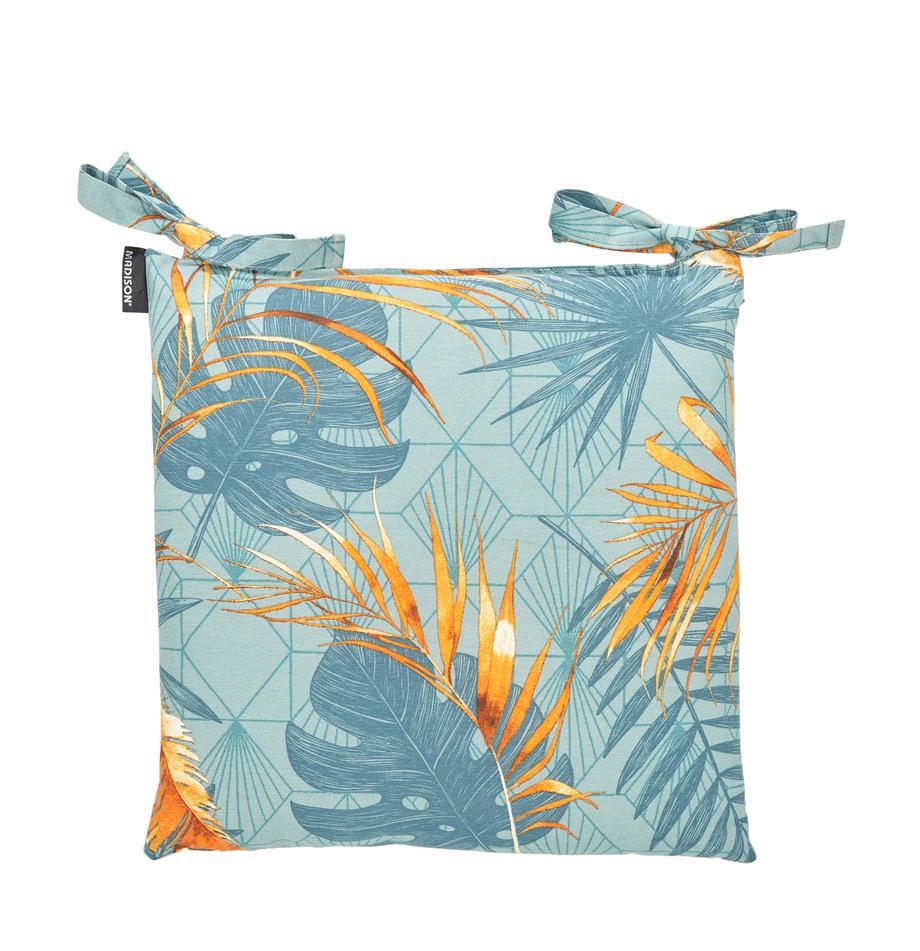 Stoelkussen Dotan met tropische print, Lichtblauw, blauw, oranje, 45 x 45 cm