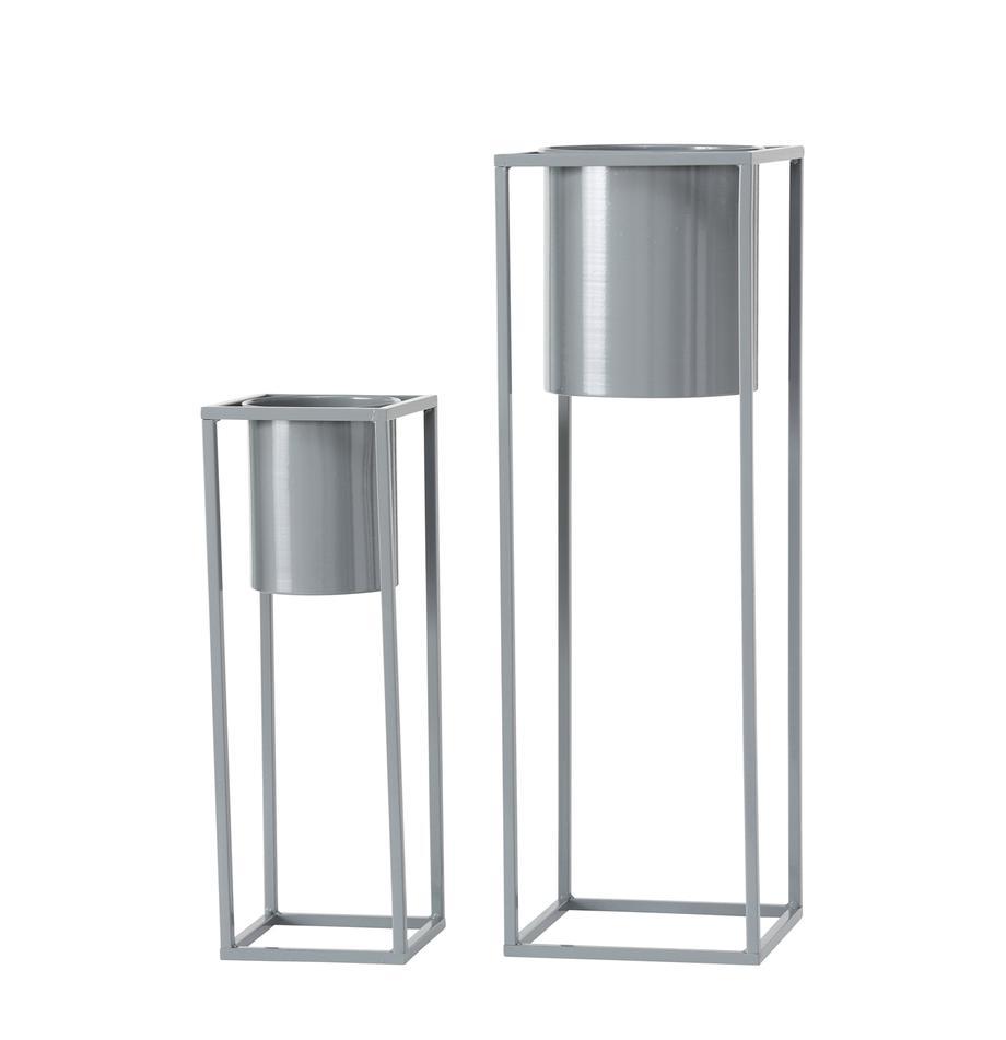 Set 2 portavasi in metallo Centro, Metallo, Grigio, Set in varie misure
