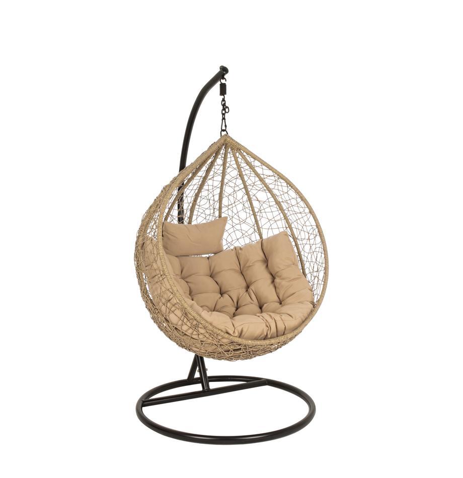 Hangstoel Amirantes met metalen frame, Frame: gepoedercoat staal, Zitvlak: synthetische vezels, Bekleding: polyester, Beige, zwart, Ø 105 x H 198 cm