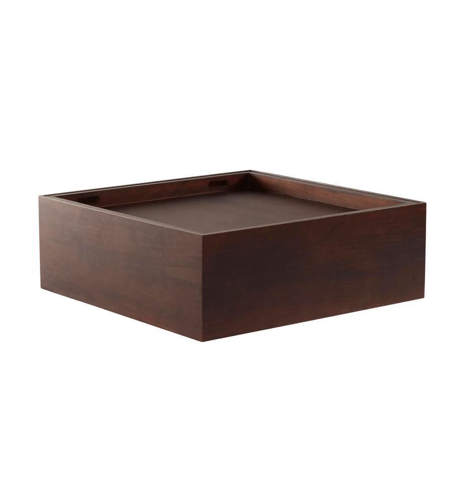Tavolino da salotto con contenitore Graham, Legno di mango rivestito, Marrone, Larg. 80 x Prof. 80 cm