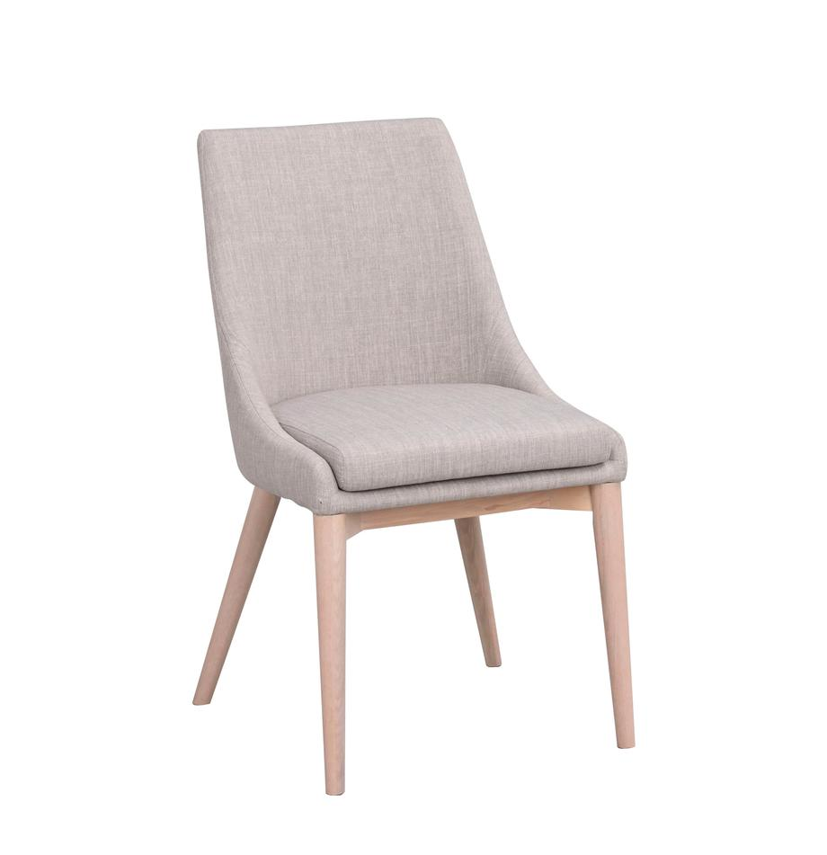 Krzesło tapicerowane Bea, Tapicerka: 100% poliester, Stelaż: metal, drewno warstwowe, Nogi: drewno dębowe, lite, Jasnoszary, drewno dębowe, S 51 x G 61 cm