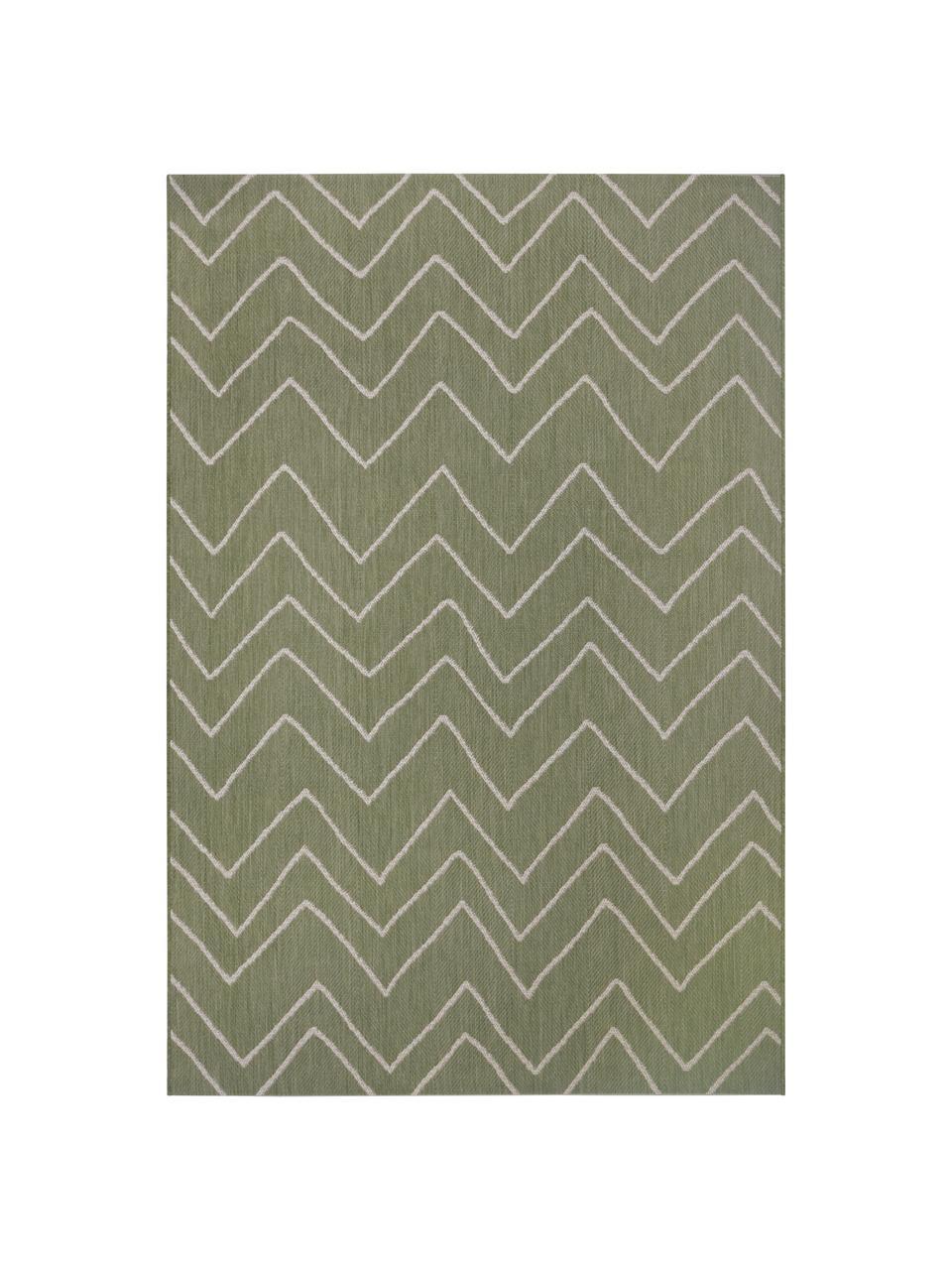 In- & Outdoor-Teppich Waves mit Zick-Zack-Muster, 100% Polypropylen, Grün, Cremeweiß, B 200 x L 290 cm (Größe L)