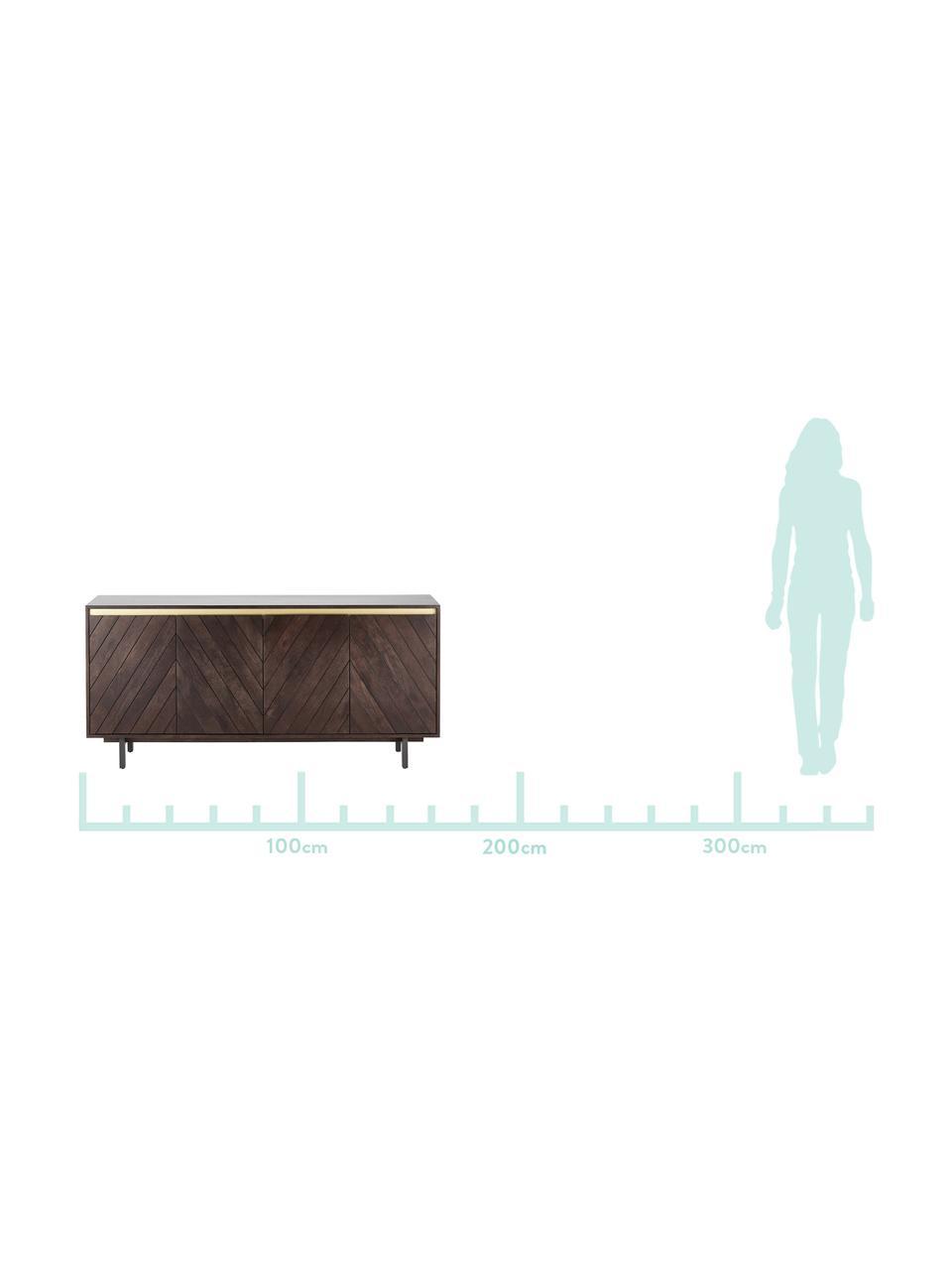 Massief houten dressoir Karl, Frame: massief gelakt mangohout,, Poten: gepoedercoat metaal, Mangohoutkleurig, goudkleurig, 165 x 61 cm