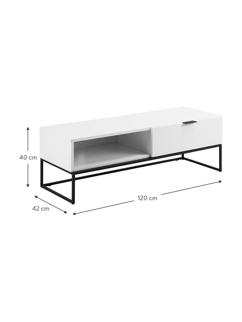 Szafka RTV z szufladą Kobe, Korpus: płyta pilśniowa średniej , Biały, czarny, S 120 x W 40 cm