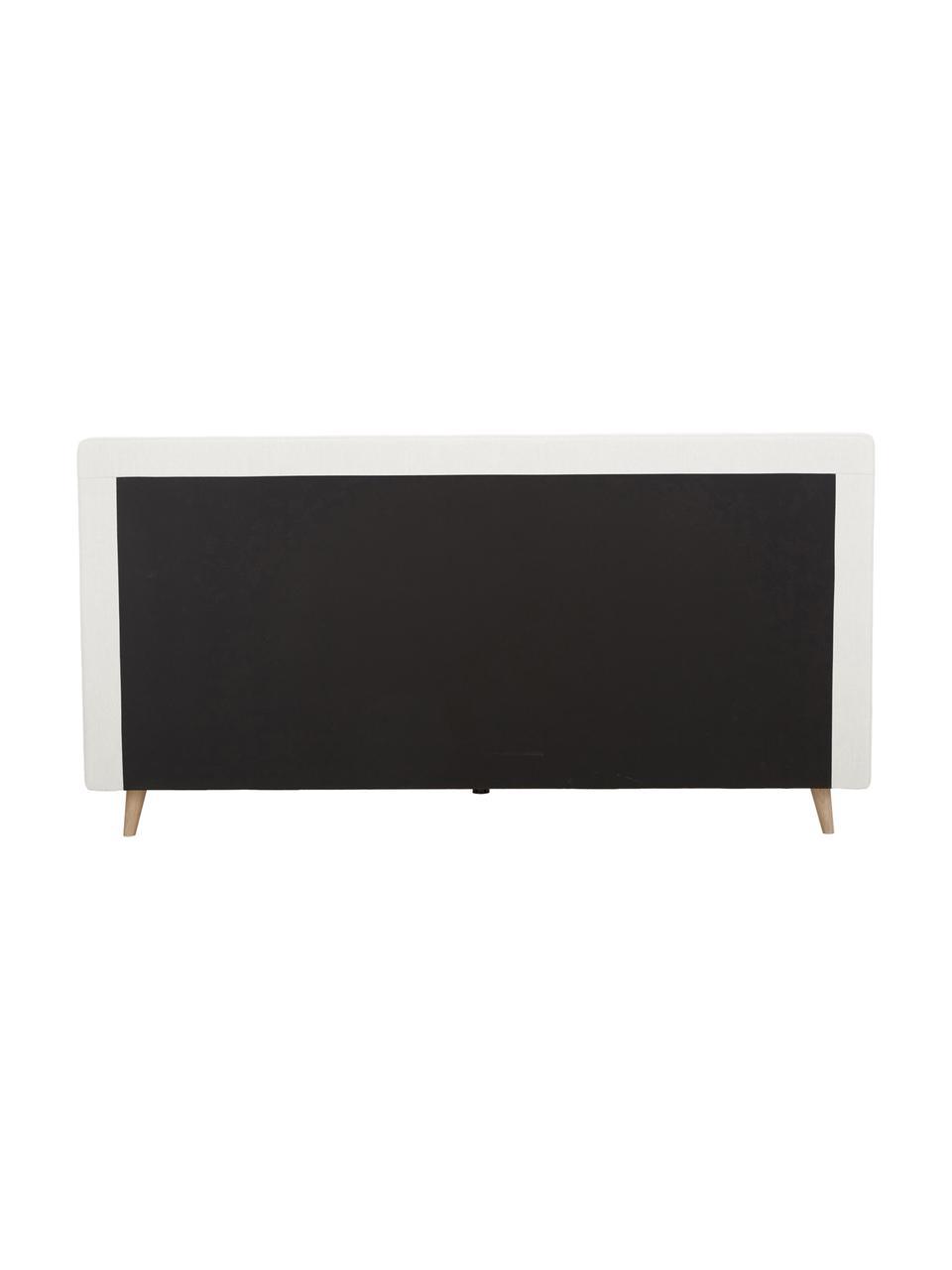 Łóżko tapicerowane Moon, Korpus: lite drewno sosnowe i pły, Tapicerka: poliester (tkanina strukt, Nogi: lite drewno dębowe, Beżowy, S 180 x D 200 cm