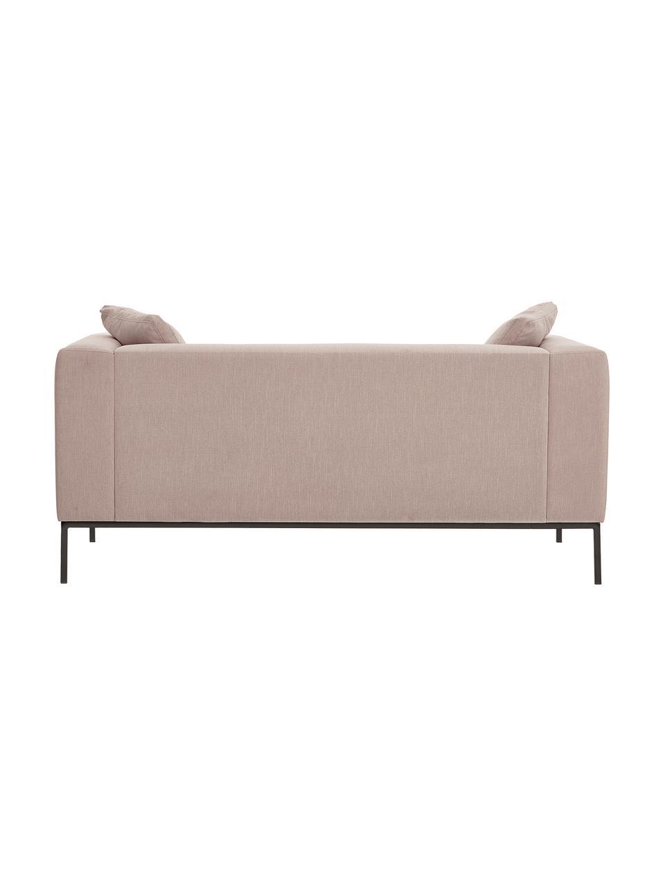 Sofa Carrie (2-Sitzer) in Alrosa mit Metall-Füßen, Bezug: Polyester 50.000 Scheuert, Gestell: Spanholz, Hartfaserplatte, Füße: Metall, lackiert, Webstoff Altrosa, B 176 x T 86 cm