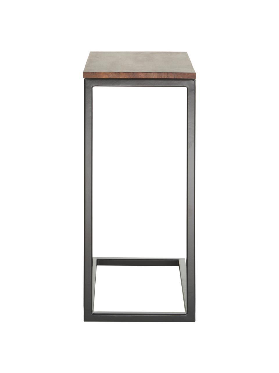 Akazienholz-Beistelltisch Celow, Tischplatte: Massives Akazienholz, lac, Gestell: Metall, pulverbeschichtet, Schwarz, 45 x 62 cm
