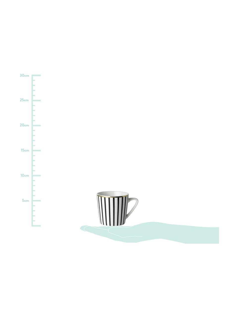 Tasse mit Untertassen Pluto Loft, mit Streifendekor und Goldrand, 4 Stück, Porzellan, Schwarz, Weiß, Goldfarben, Ø 6 x H 6 cm