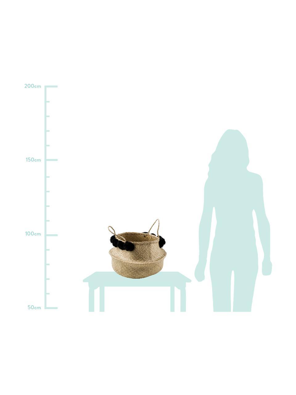 Handgefertigter Aufbewahrungskorb Calypso, Seegras, Wolle, Seegras, Schwarz, Ø 40 x H 34 cm