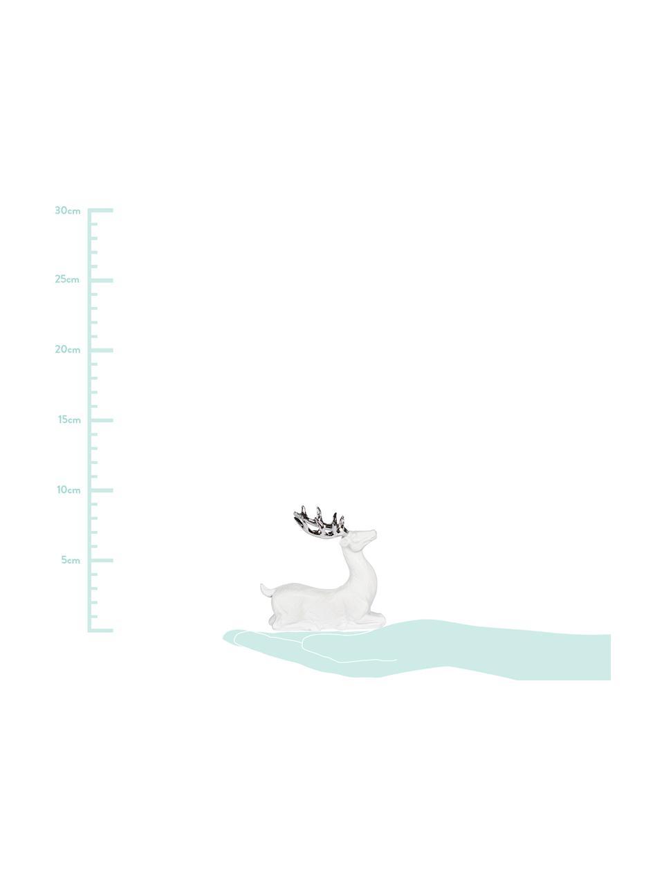 Handgefertigtes Deko-Objekt Deer, Polyresin, Weiß, Silberfarben, 9 x 9 cm