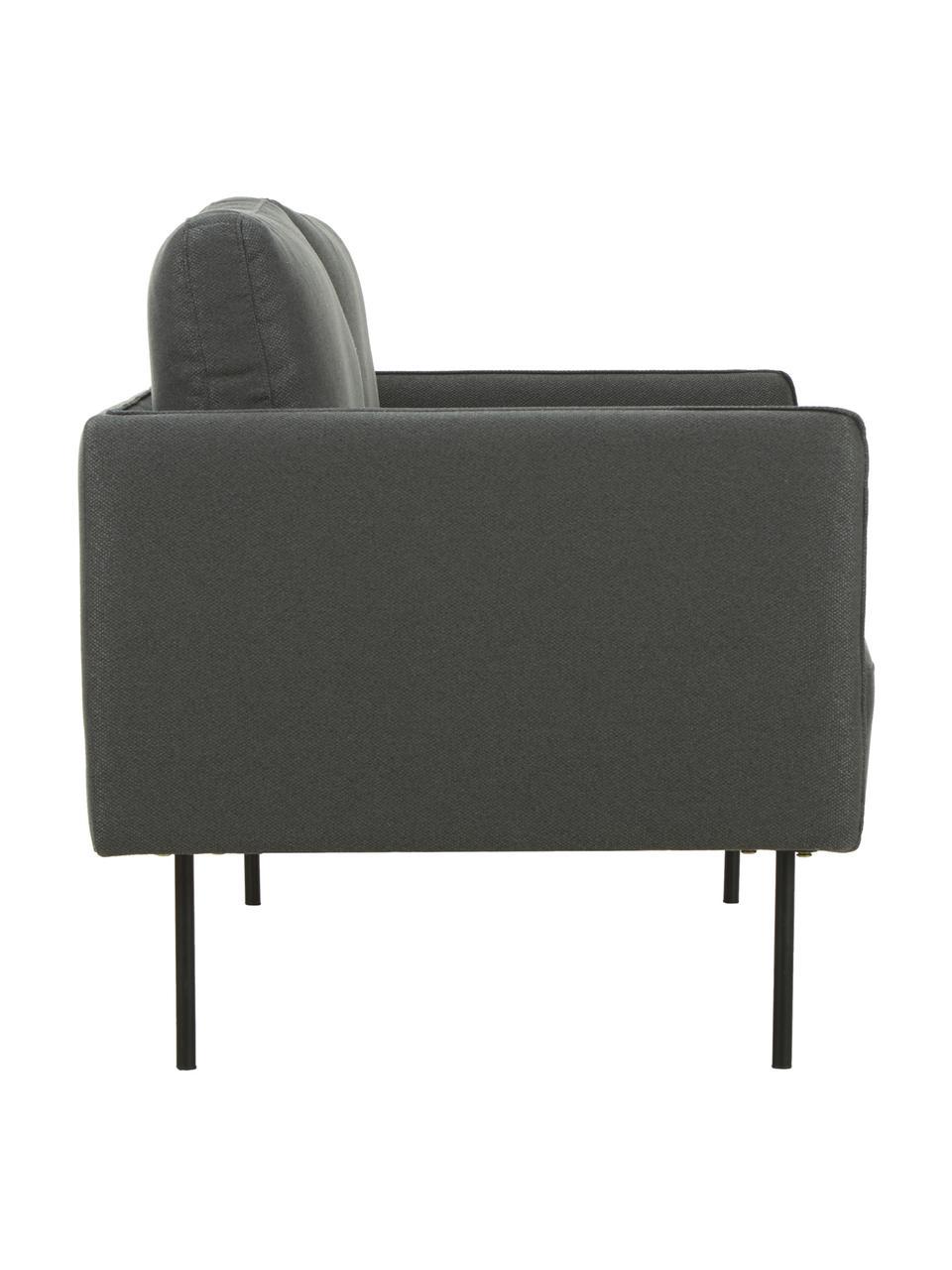 Sofa Ramira (2-Sitzer) in Anthrazit mit Metall-Füßen, Bezug: Polyester 20.000 Scheuert, Gestell: Massives Kiefernholz, Spe, Füße: Metall, pulverbeschichtet, Webstoff Anthrazit, 151 x 79 cm