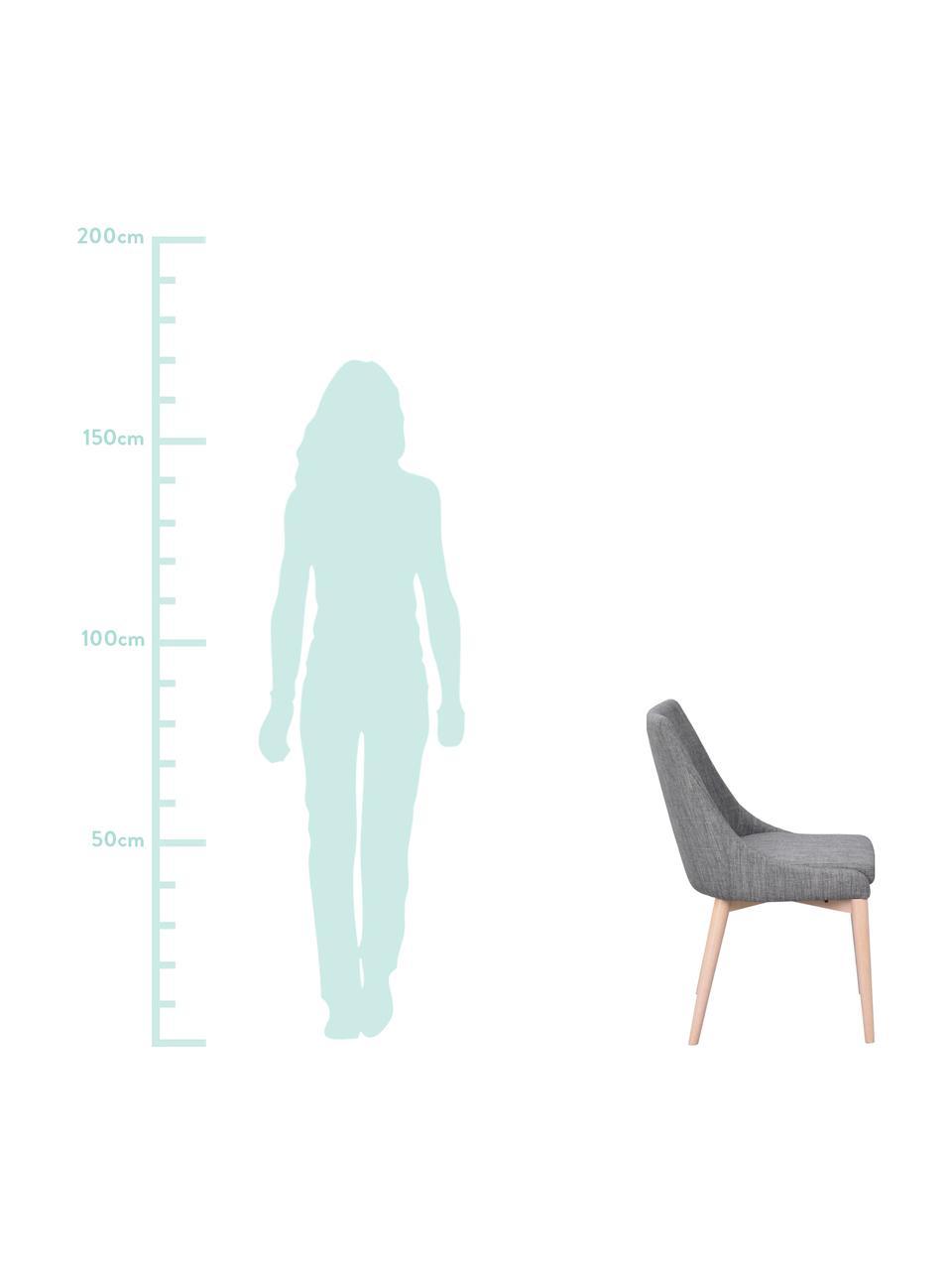 Gestoffeerde stoel Bea, Bekleding: 100% polyester, Frame: metaal, multiplex, Poten: eikenhout, massief, Donkergrijs, eikenhoutkleurig, 51 x 61 cm