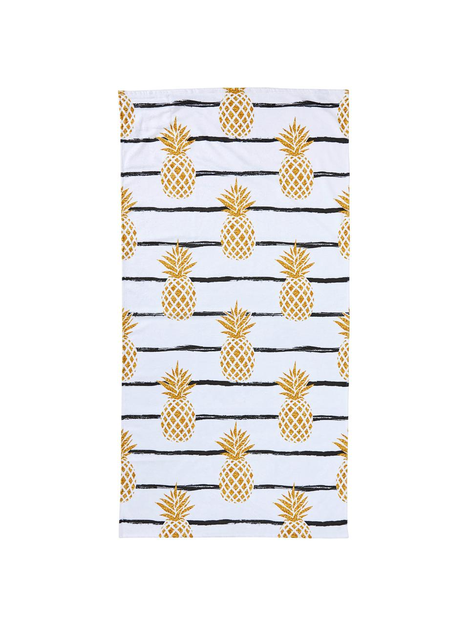 Ręcznik plażowy Case Pineapples, Biały, żółty, czarny, S 90 x D 180 cm