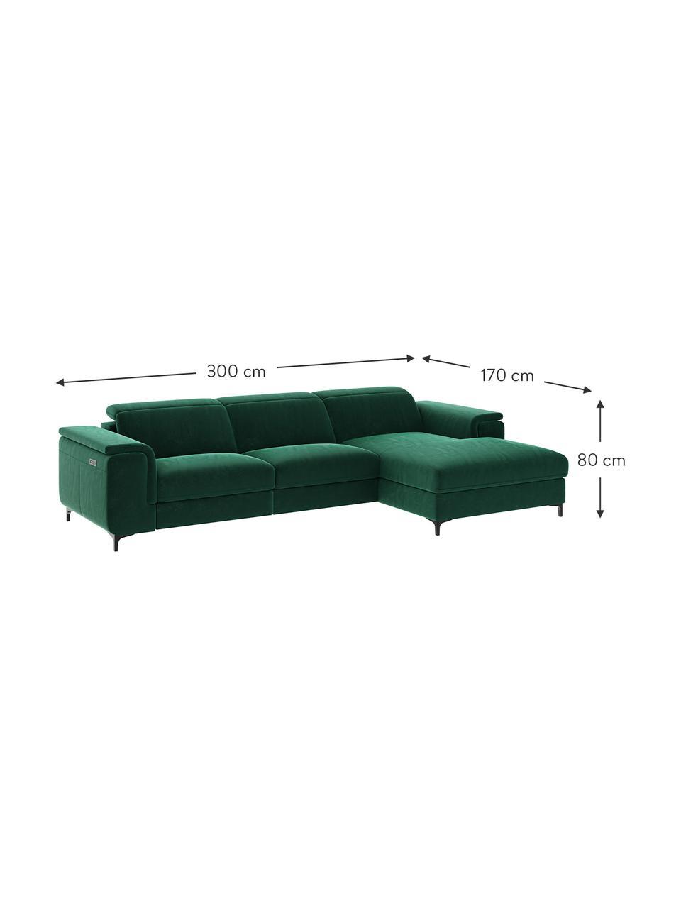 Sofa narożna z aksamitu z funkcją relaks Brito, Tapicerka: aksamit poliestrowy Dzięk, Nogi: metal lakierowany, Ciemny zielony, S 300 x G 170 cm