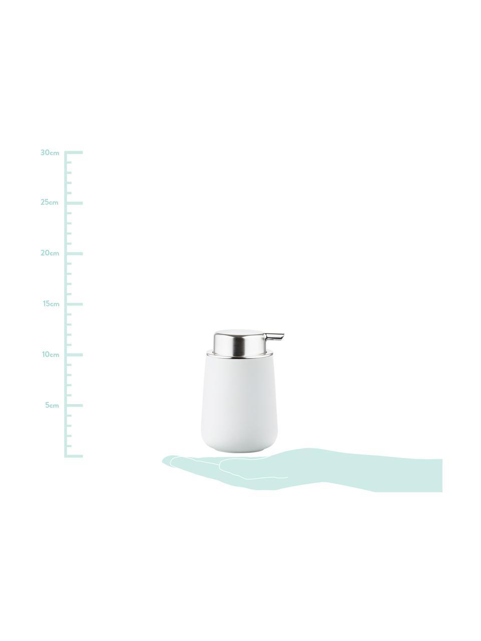 Porzellan-Seifenspender Nova One, Behälter: Porzellan, Weiß matt, Silberfarben, Ø 8 x H 12 cm