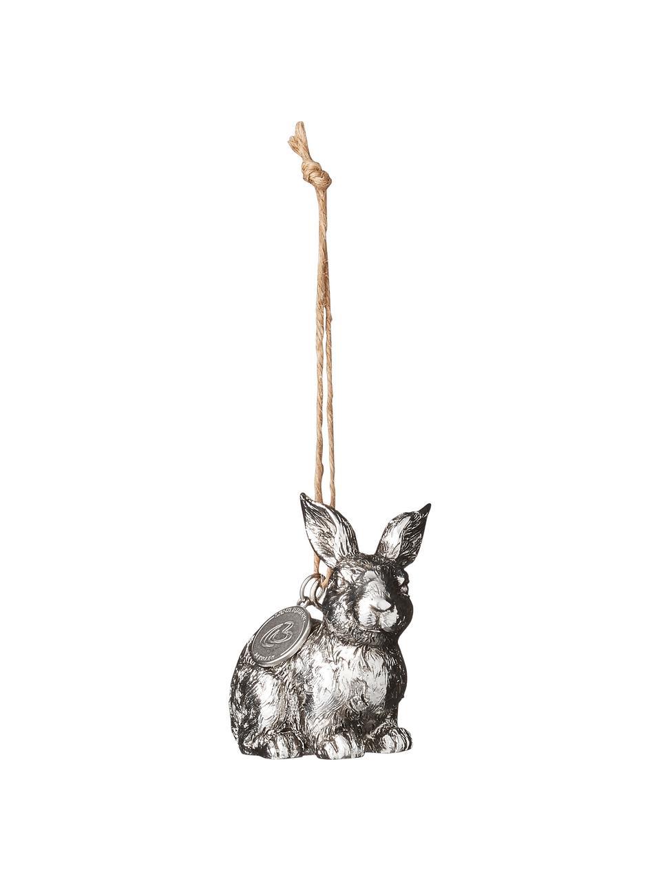 Dekoracja wisząca Bunny, 2 szt., Tworzywo sztuczne, Odcienie srebrnego, S 4 x W 6 cm