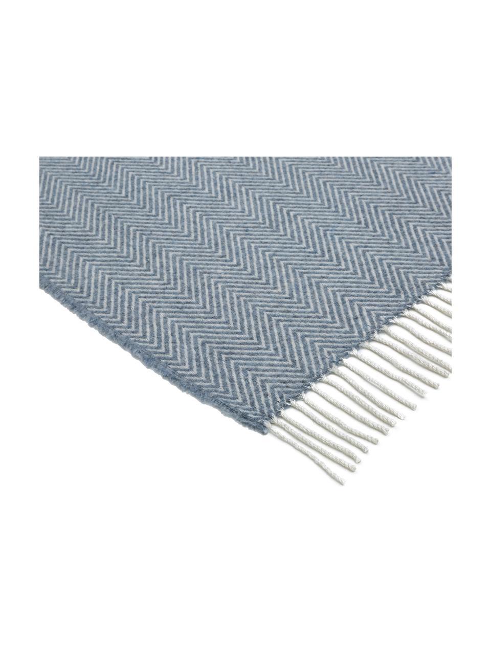 Koc z wełny Aubrey, 80% wełna merino, 20% nylon, Niebieski, złamana biel, S 140 x D 186 cm
