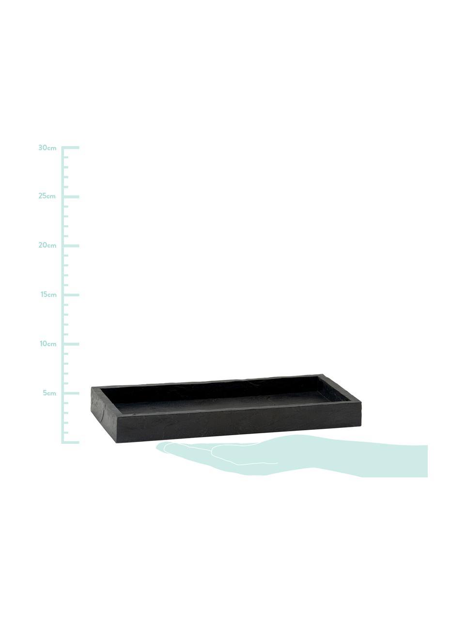 Tablett Slate, Polyresin, Schwarz, 26 x 3 cm