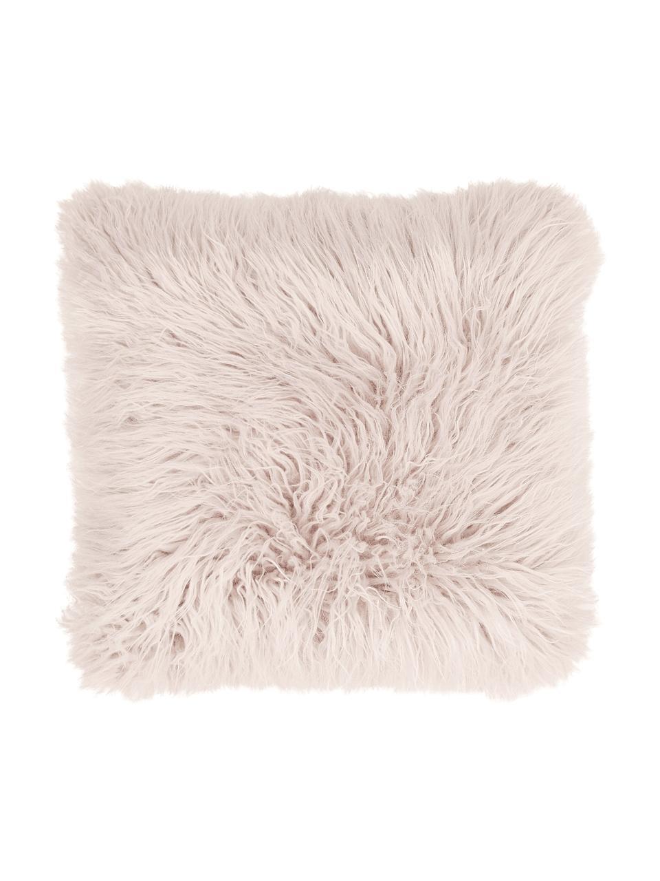 Federa arredo in ecopelliccia rosa Morten, Retro: 100% poliestere, Rosa, Larg. 40 x Lung. 40 cm