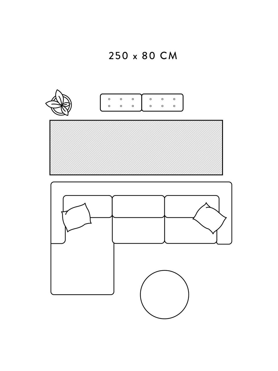 Flauschiger Hochflor-Läufer Velma in Grau/Cremeweiß, Flor: 100% Polypropylen, Grau, Cremeweiß, 80 x 250 cm