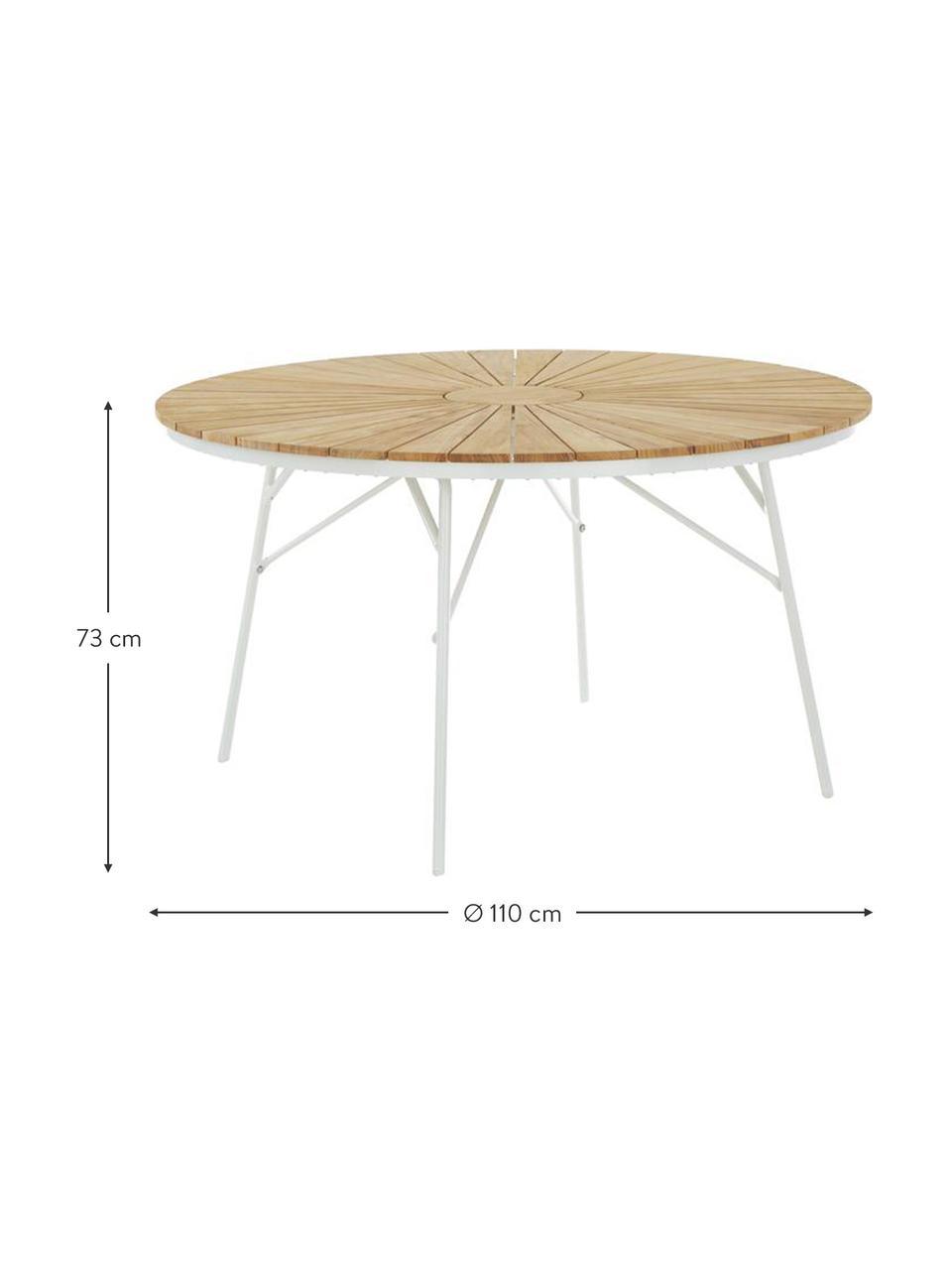 Table de jardin ronde avec plateau teck Hard & Ellen, Teck, blanc