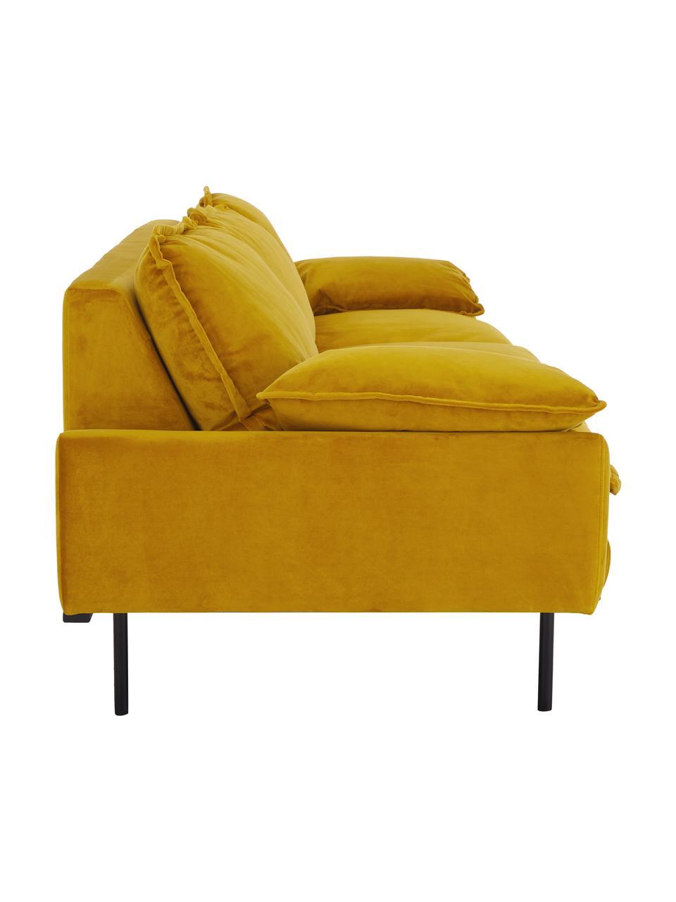 Samt-Sofa Retro (4-Sitzer) in Gelb mit Metall-Füßen, Bezug: Polyestersamt 86.000 Sche, Korpus: Mitteldichte Holzfaserpla, Füße: Metall, pulverbeschichtet, Samt Ocker, B 245 x T 83 cm