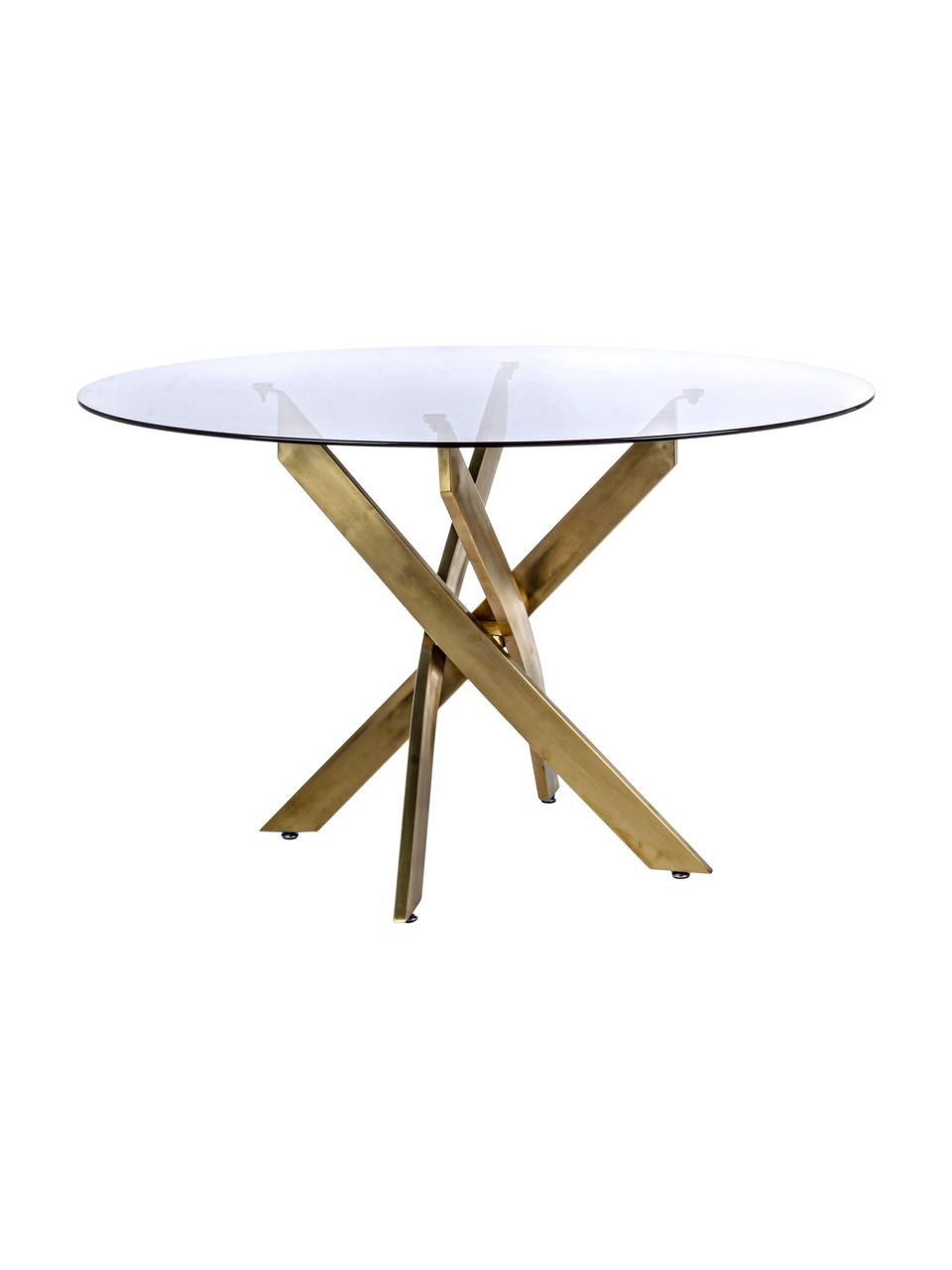 Esstisch George mit Glasplatte, Tischplatte: Glas, getönt, Beine: Metall, pulverbeschichtet, Schwarz, Messingfarben, Ø 120 x H 75 cm