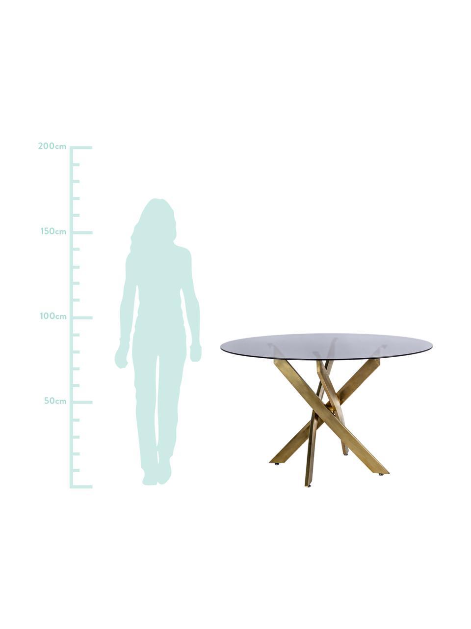 Table en verre noir et pieds design couleur laiton George, Noir, couleur laiton