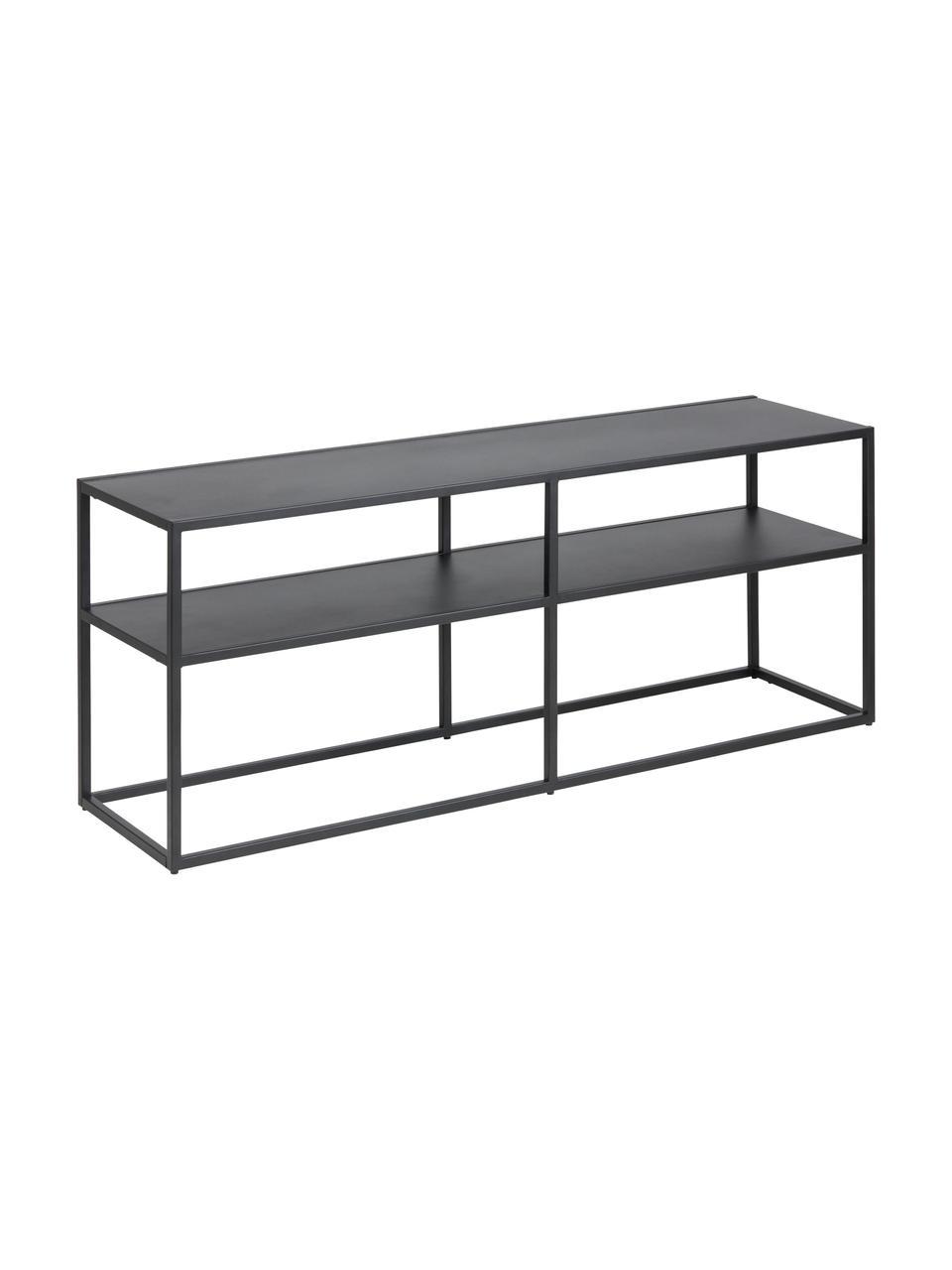 Metalen tv-meubel Newton in zwart, Gepoedercoat metaal, Zwart, 120 x 46 cm