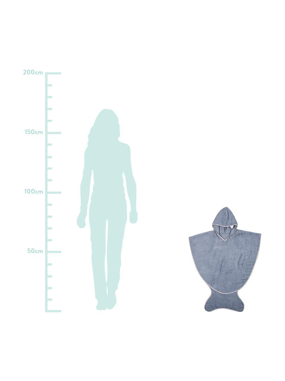 Kinderbadetuch Fish, Baumwolle, Öko-Tex-zertifiziert, Blaugrau, 71 x 87 cm