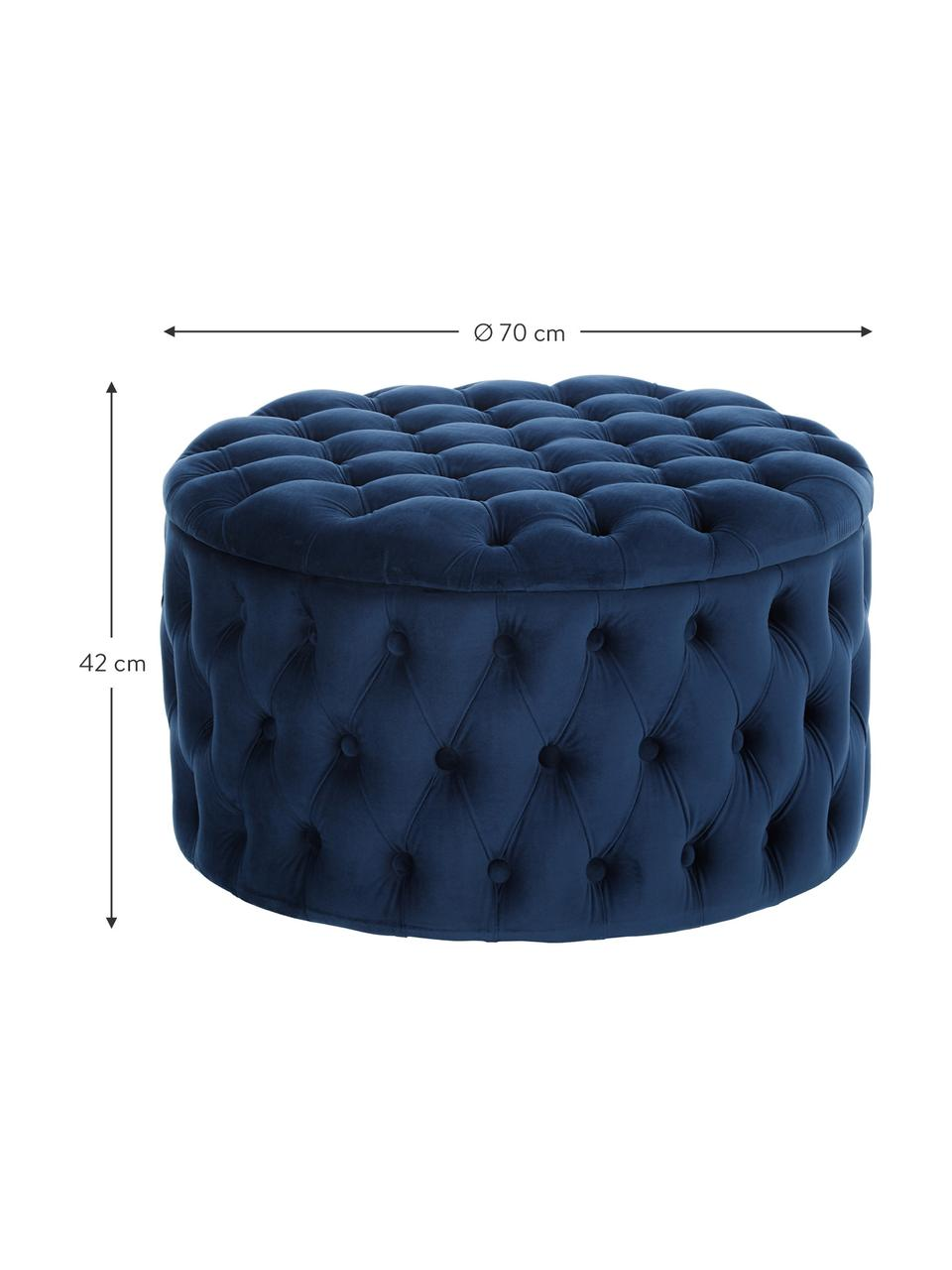 Pouf coffre XL velours bleu Chiara, Bleu