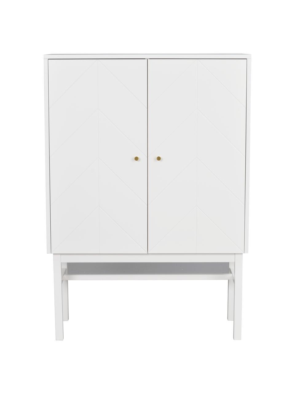 Scandi dressoir Webster met deuren in wit, Frame: MDF, Poten: massief rubberhout, Wit, 94 x 135 cm