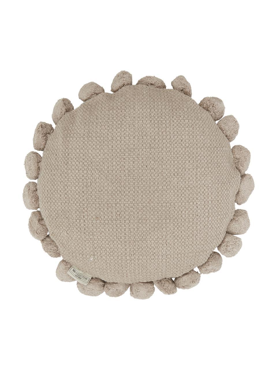 Okrągła poduszka z pomponami z wypełnieniem Betta, Szary, Ø 45 cm