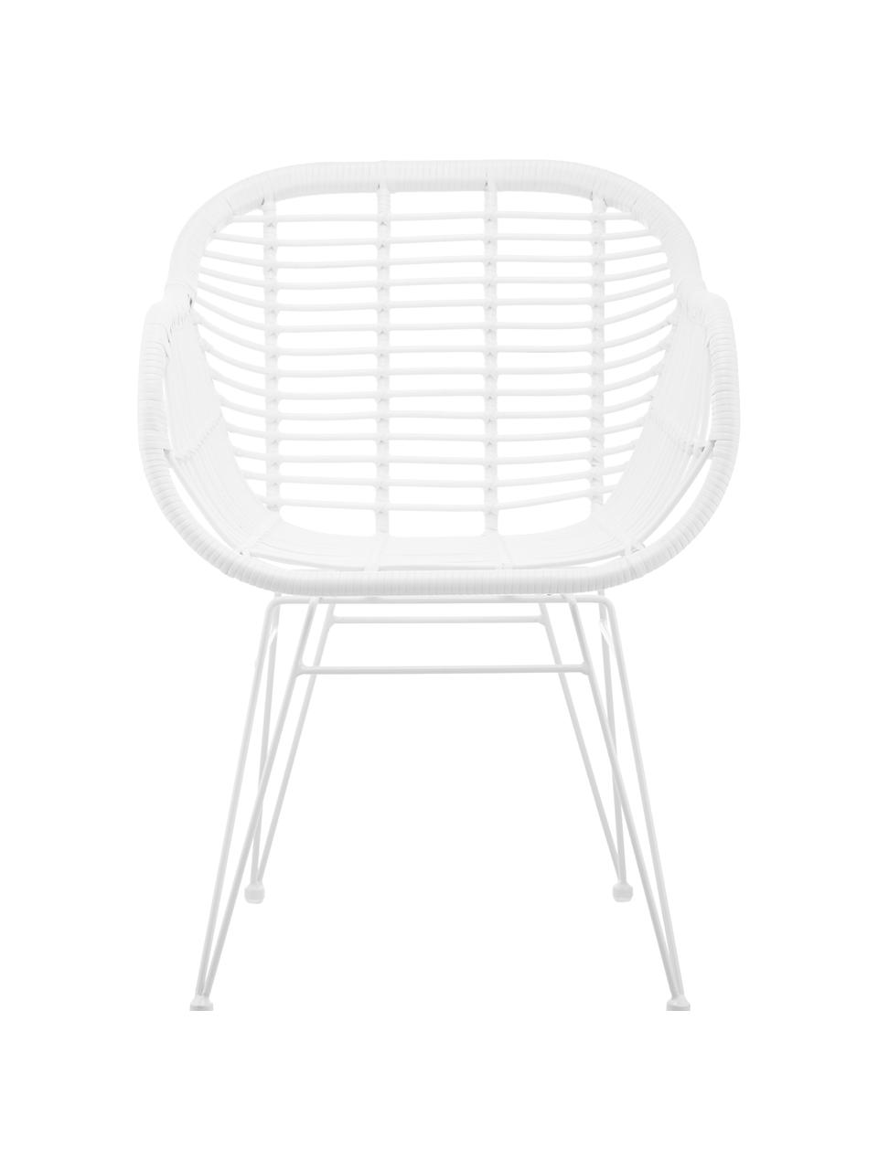 Chaise polyrotin Costa, 2pièces, Assise: blanc Structure: blanc, mat