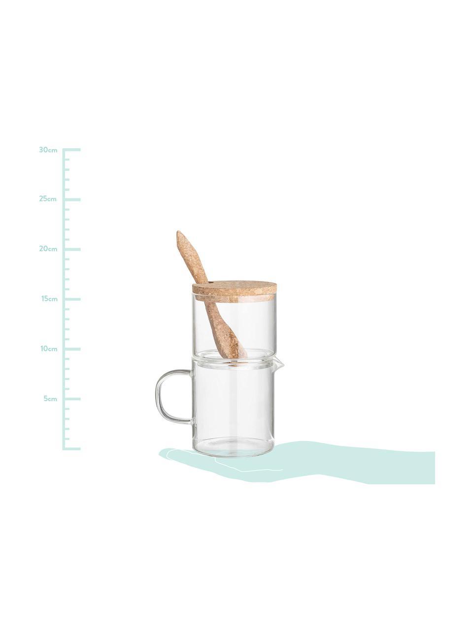 Komplet z mlecznikiem i cukiernicą Pot, 3 elem., Szkło, korek, Transparentny, brązowy, Komplet z różnymi rozmiarami