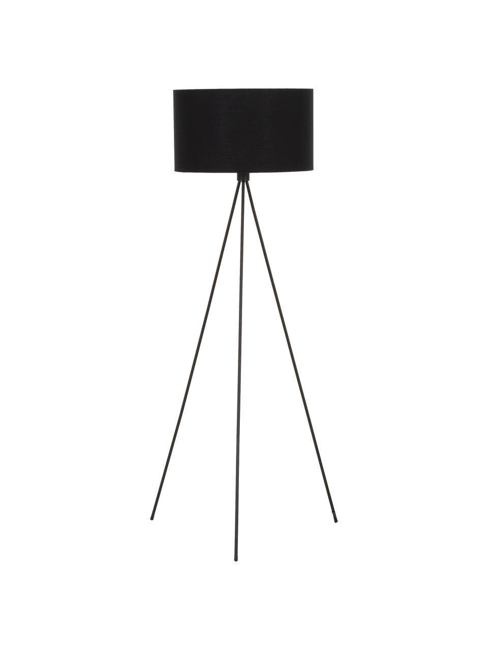Lampada da terra con paralume in tessuto Cella, Paralume: miscela di cotone, Base della lampada: metallo verniciato a polv, Nero, Ø 45 x Alt. 147 cm