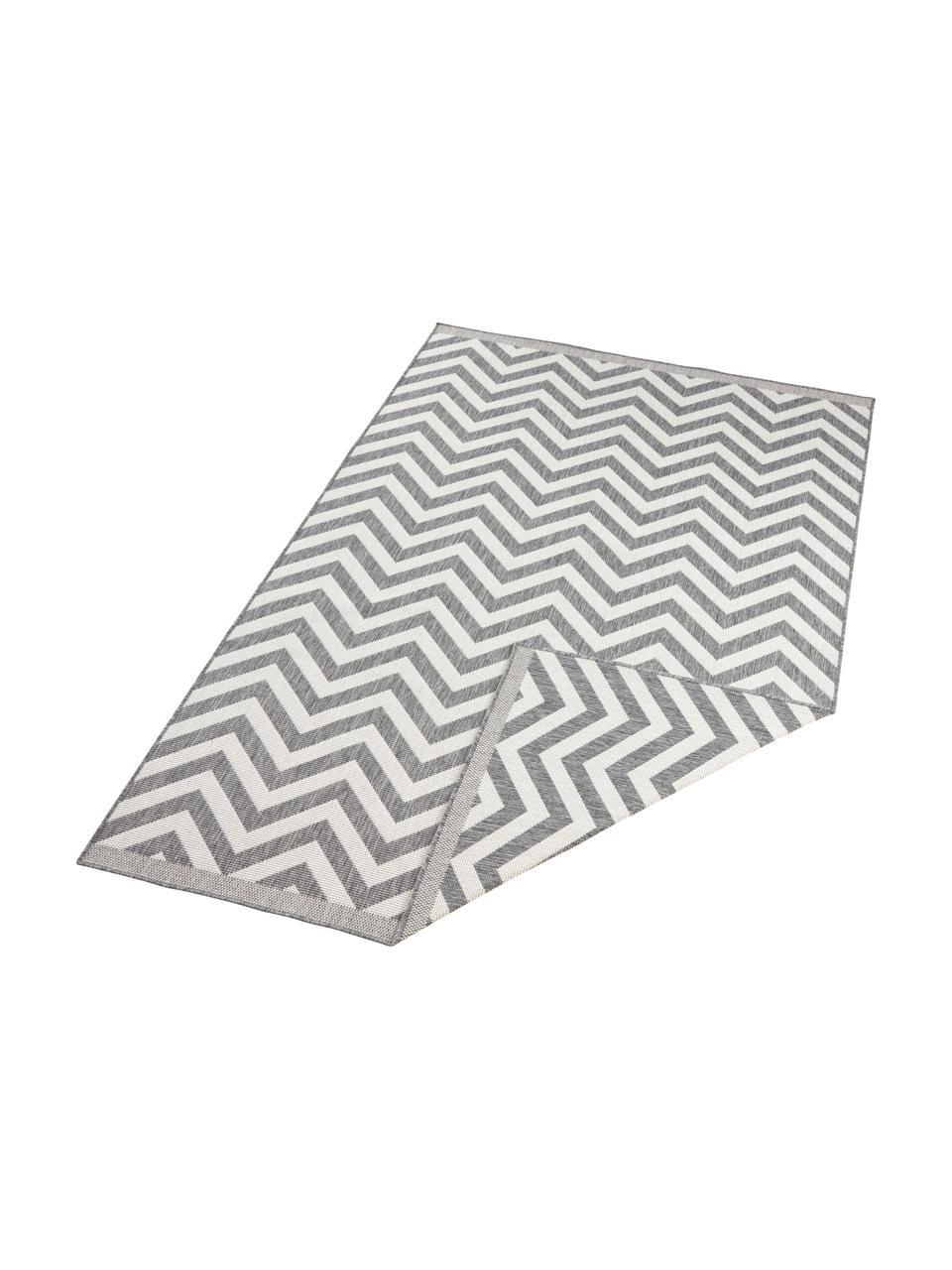 In- & Outdoor-Teppich Palma mit Zickzack-Muster, beidseitig verwendbar, Grau, Creme, B 200 x L 290 cm (Größe L)
