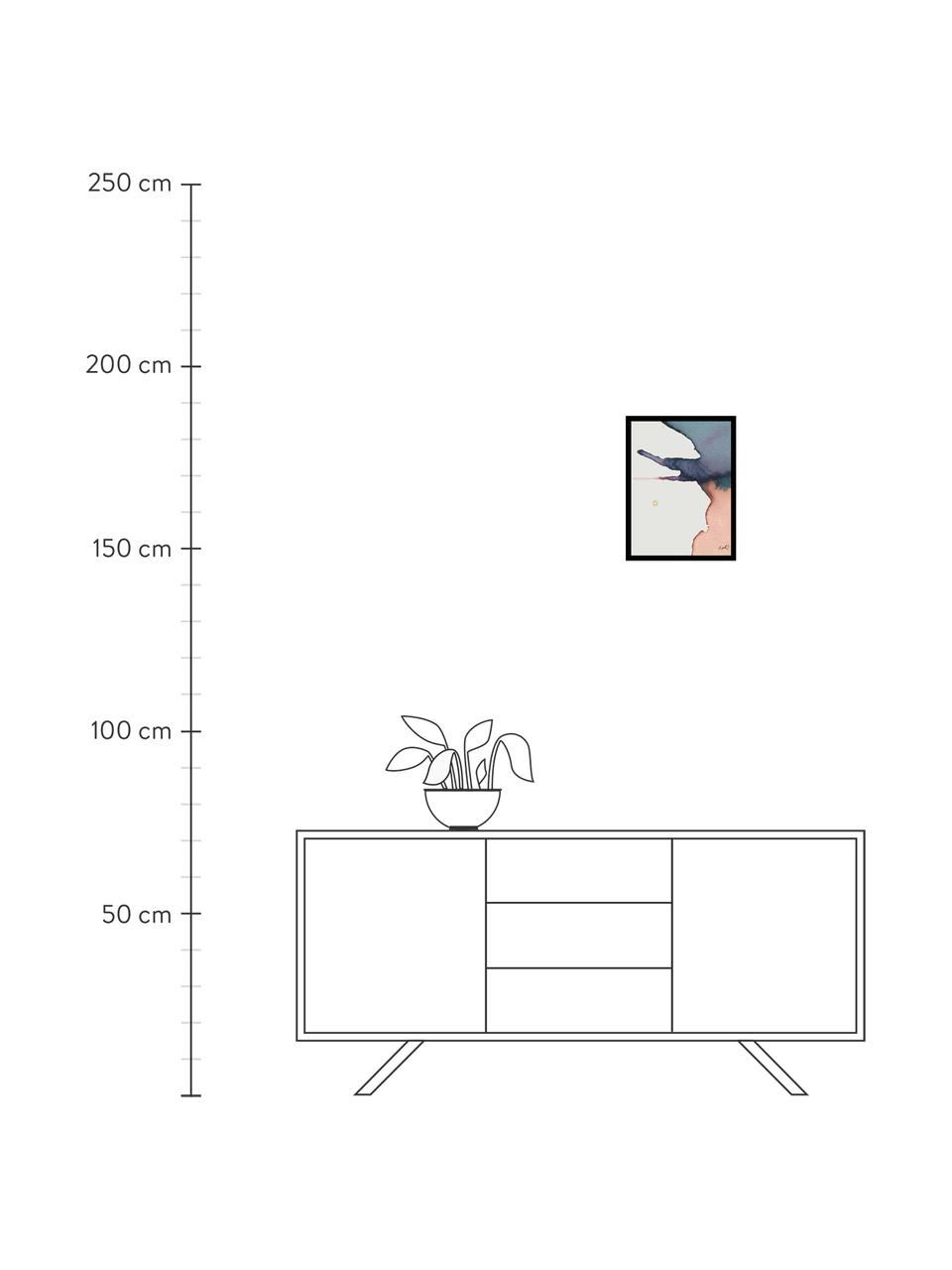 Gerahmter Digitaldruck Paint II, Bild: Digitaldruck, Rahmen: Kunststoffrahmen mit Glas, Mehrfarbig, 30 x 40 cm