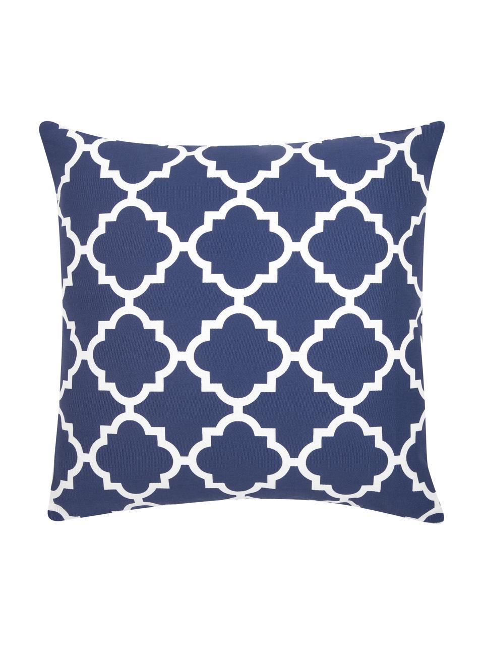 Federa arredo con motivo grafico Lana, 100% cotone, Blu marino, bianco, Larg. 45 x Lung. 45 cm