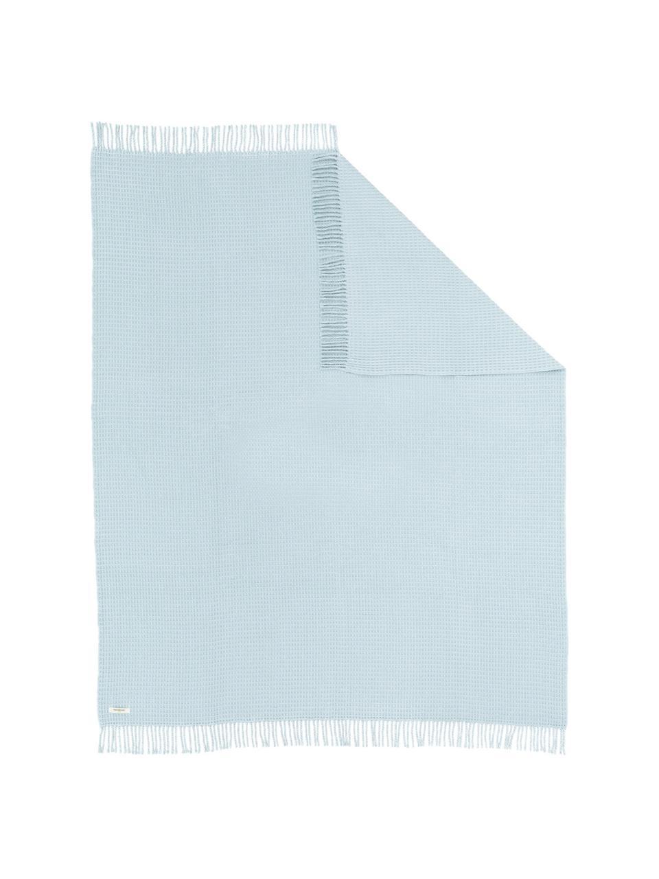 Waffelpiqué-Plaid Sara, 50% Baumwolle, 50% Acryl, Hellblau, 140 x 180 cm