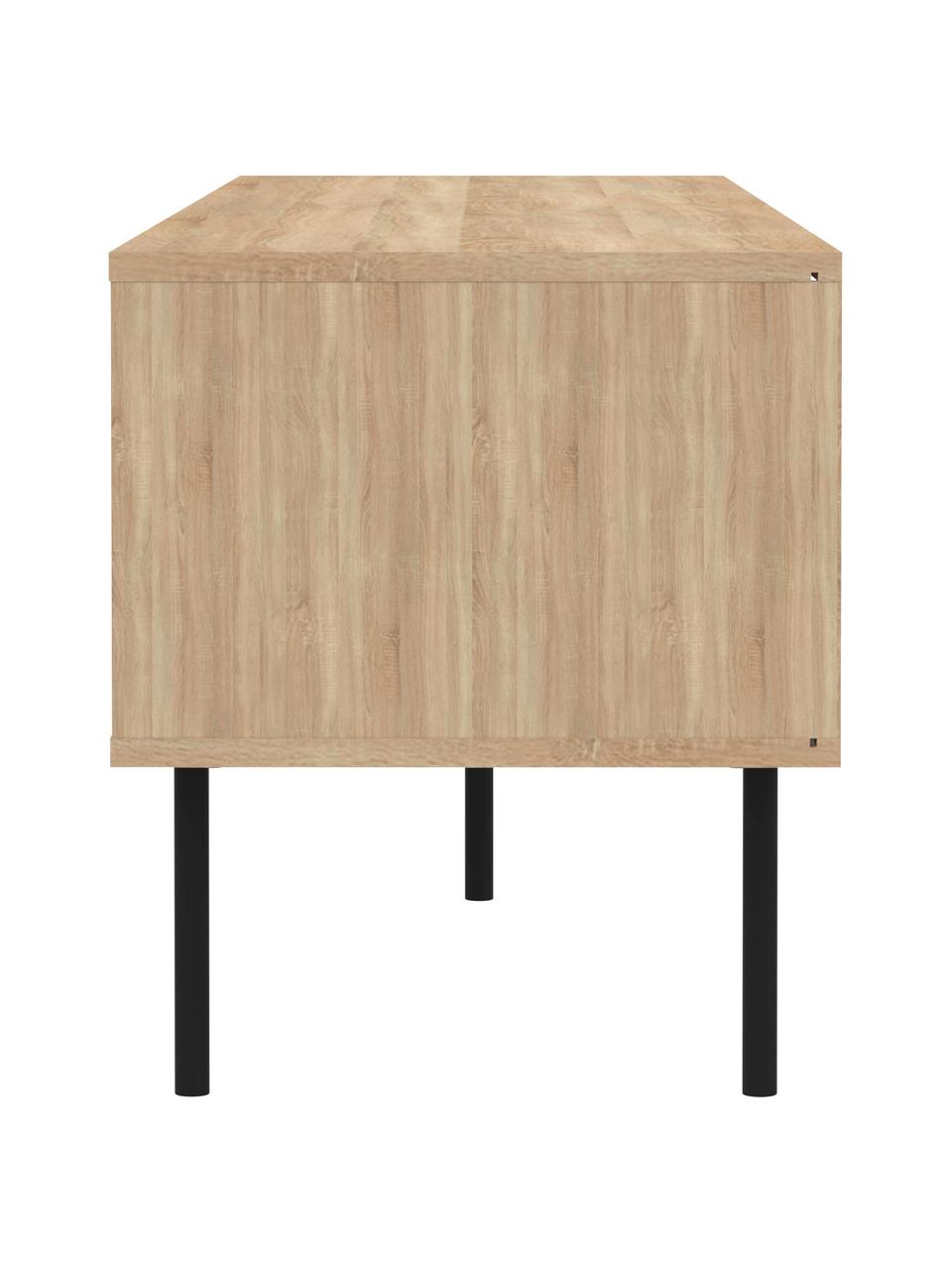Szafka RTV Ampère, Korpus: płyta wiórowa pokryta mel, Nogi: metal powlekany, Drewno dębowe, biały, czarny, S 165 x W 40 cm