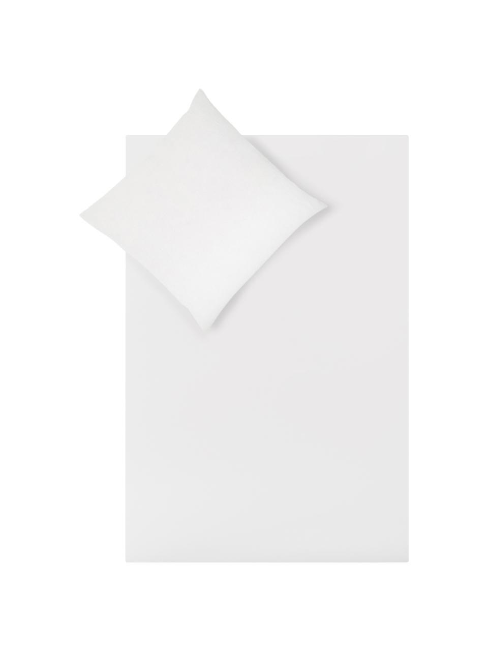 Leinen-Wendebettwäsche Natural mit Baumwollperkal-Rückseite, Vorderseite: 65% Leinen, 35% Baumwolle, Rückseite: Baumwolle, Webart: Perkal Fadendichte 200 TC, Weiß, 135 x 200 cm + 1 Kissen 80 x 80 cm