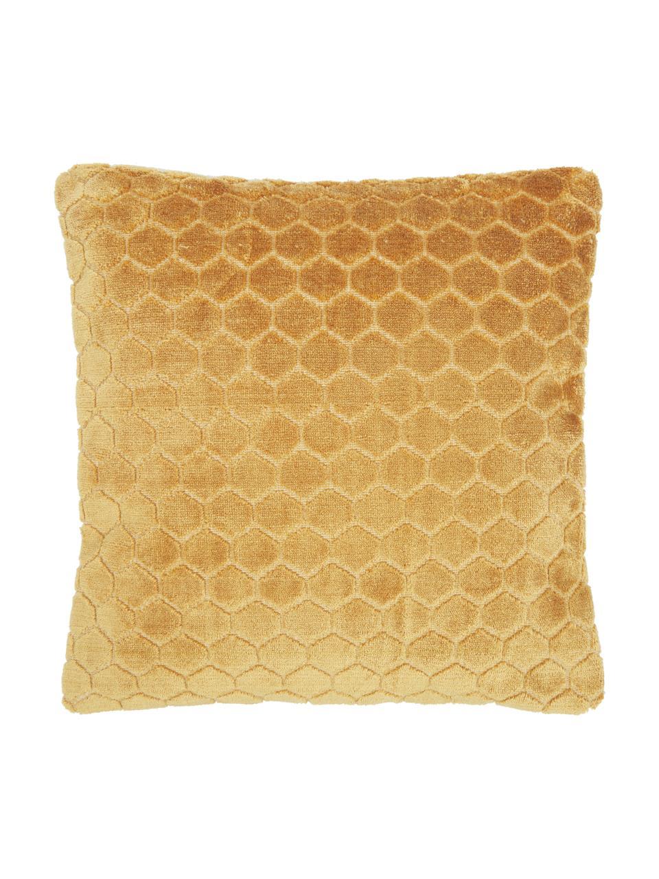 Samt-Kissenhülle Carraway mit Strukturmuster, Vorderseite: 51% Polyester, 49% Viskos, Rückseite: 100% Baumwolle, Senfgelb, 45 x 45 cm