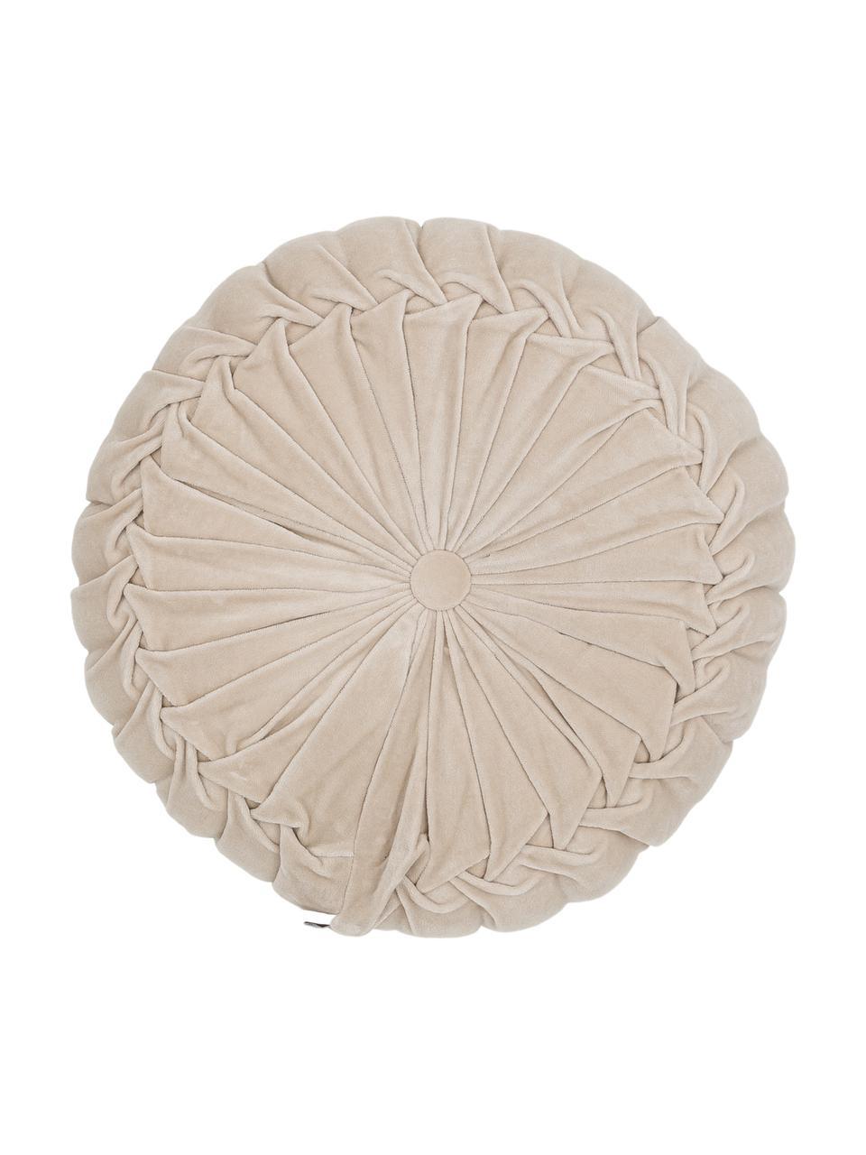 Rundes Samt-Kissen Kanan mit Raffungen, mit Inlett, Hellbeige, Ø 40 cm