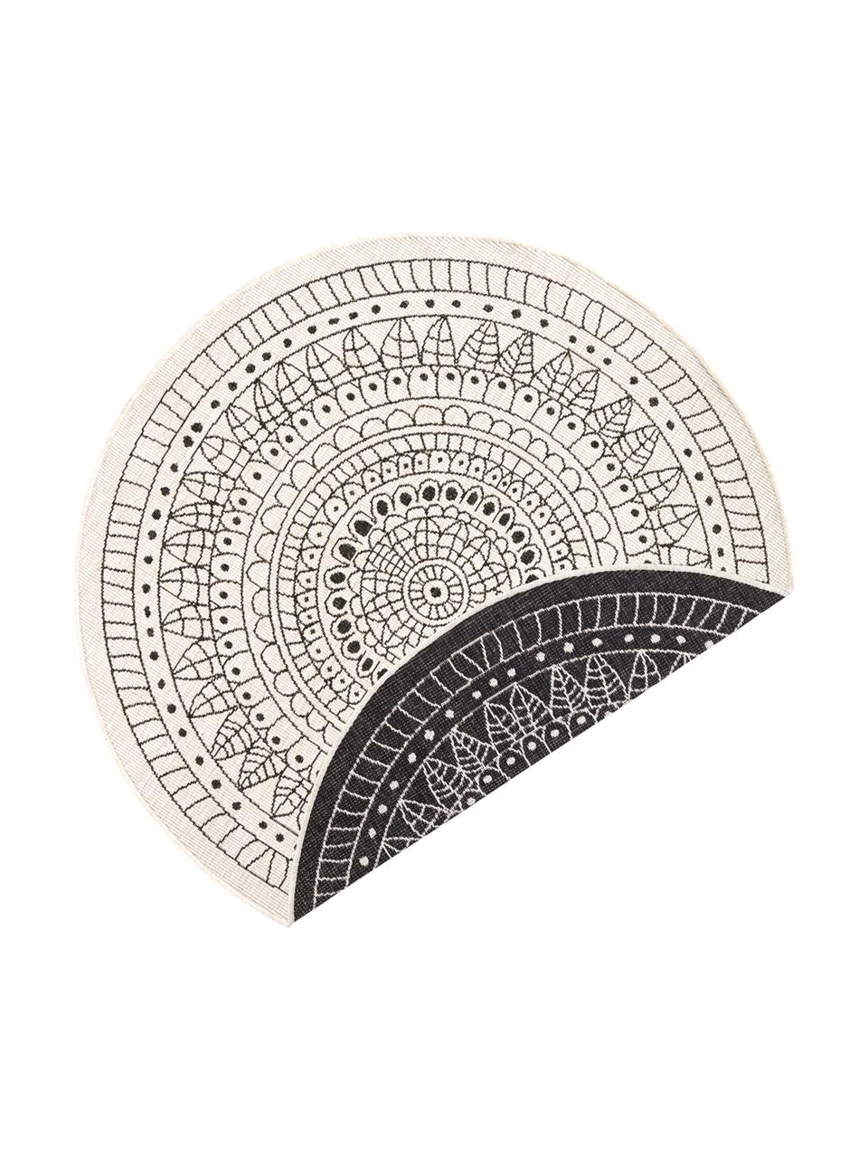 Tappeto reversibile da interno-esterno Porto, Nero, color crema, Ø 140 cm (taglia M)