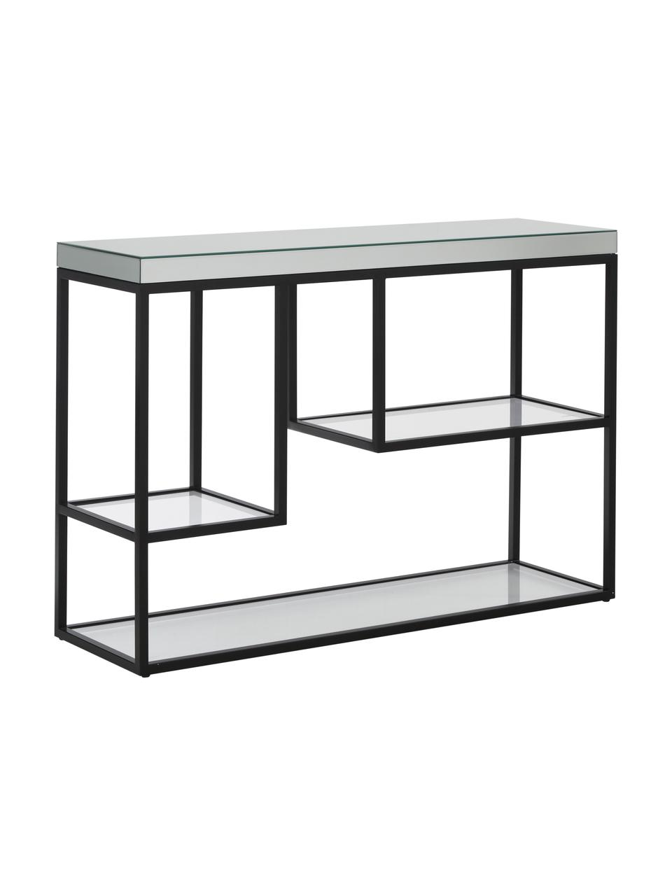 Konsole Pippard mit Glasplatten, Gestell: Metall, lackiert, Ablagefläche: Spiegelglas, Schwarz, Transparent, B 120 x T 36 cm