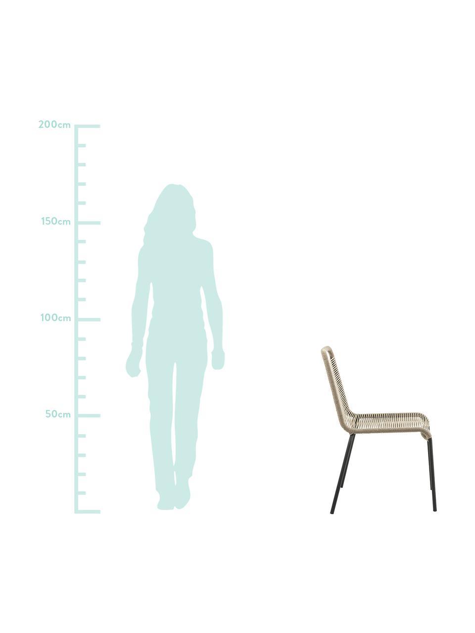 Krzesło Lambton, 2 szt., Stelaż: metal malowany proszkowo, Czarny, jasny brązowy, S 49 x G 59 cm